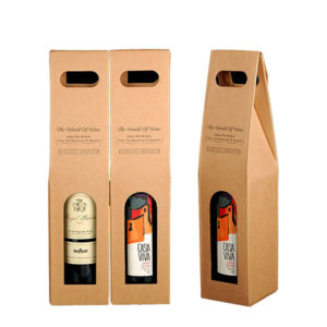 Corrugate Wine Box with Die-cut Handle COPB-107