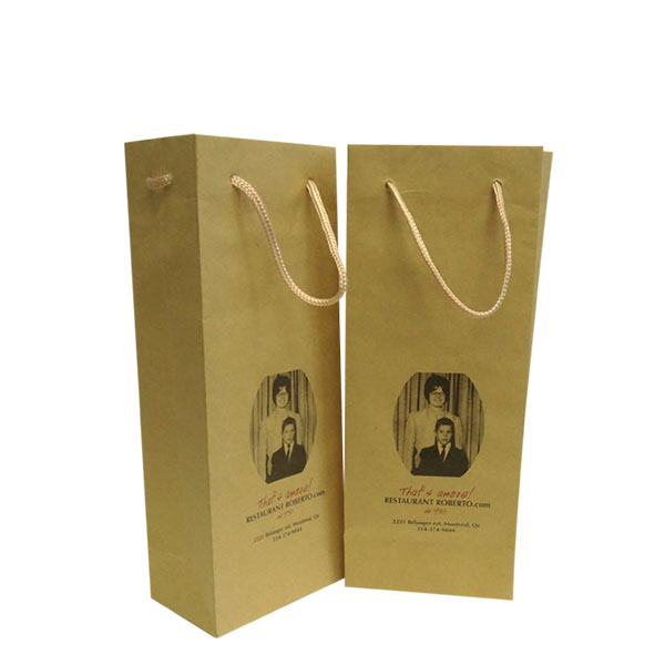 Kraft Paper Wine Bag with Rope Handle WB-101