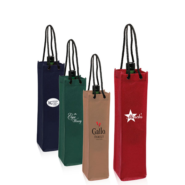 1 Bottle Reusable Non-woven Wine Bag with Rope Handle WB-103
