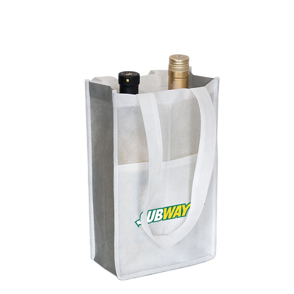 2 Bottles Reusable Non-woven Wine Bag with Front Pocket WB-105
