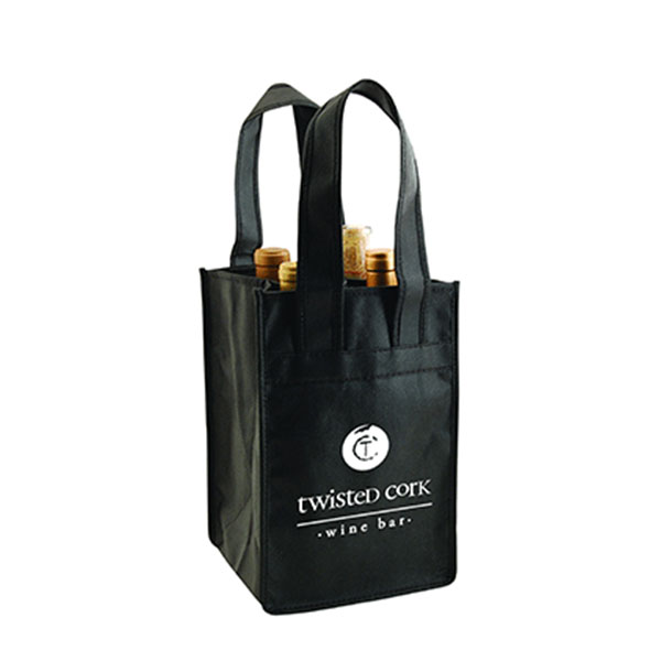 4 Bottles Reusable Non-woven Wine Bag with Reinforced Handle WB-106