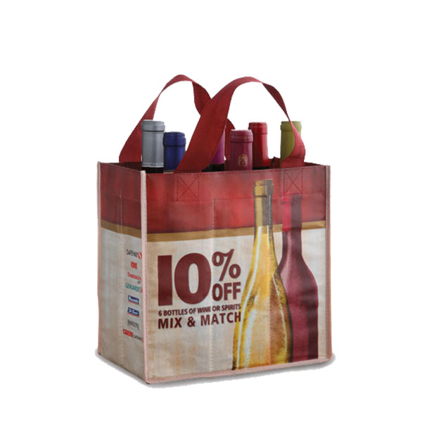 Full Colour Printed Laminated Non-woven Wine Bag WB-108