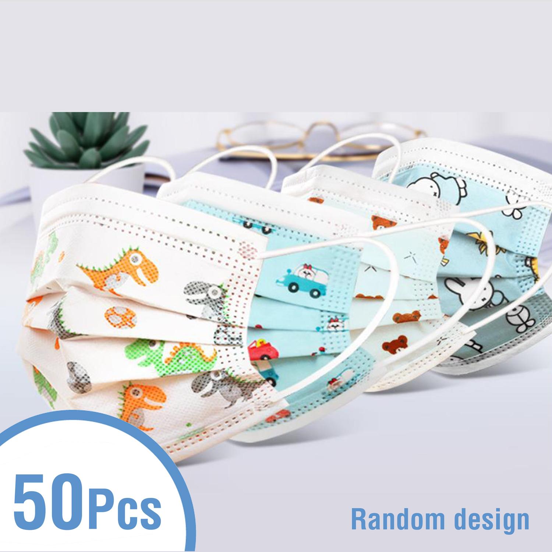 50PCS Kids 3 Ply Disposable Face Masks