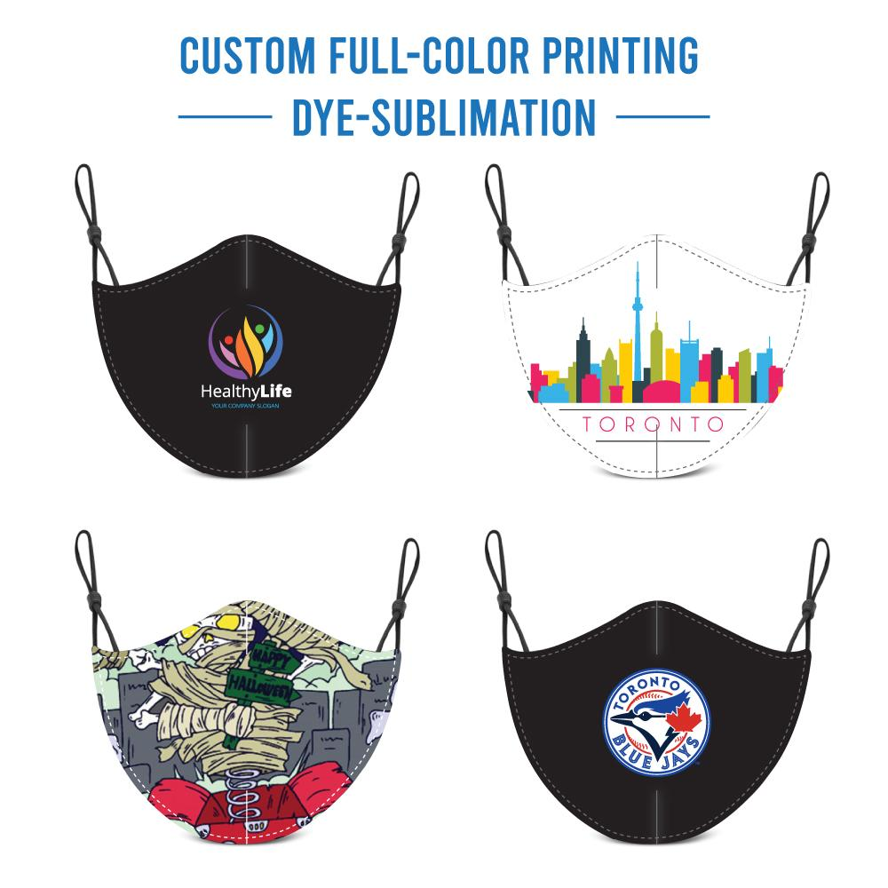 Custom Full Colour Printed Brushed Polyester/Cotton Masks